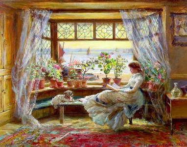 reading by the window, maalaus
